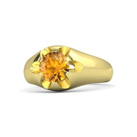 Men's Round Citrine 14K Yellow Gold Ring