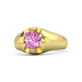 Round Pink Sapphire 14K Yellow Gold Ring
