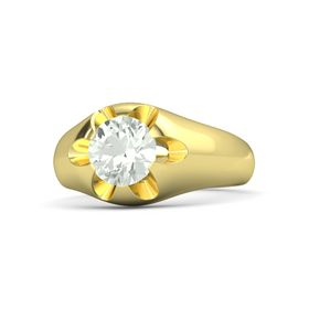 Men's Round Green Amethyst 14K Yellow Gold Ring