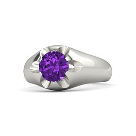 Men's Round Amethyst Palladium Ring