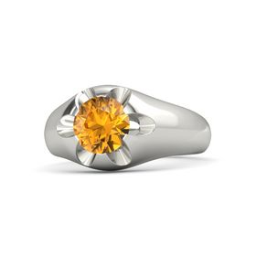 Men's Round Citrine Palladium Ring