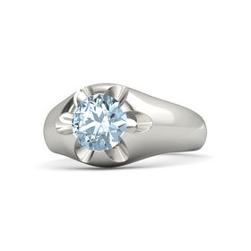 Men's Round Aquamarine Palladium Ring
