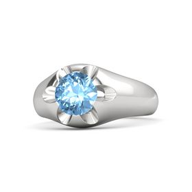 Men's Round Blue Topaz Sterling Silver Ring