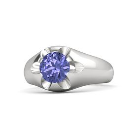 Men's Round Tanzanite Sterling Silver Ring