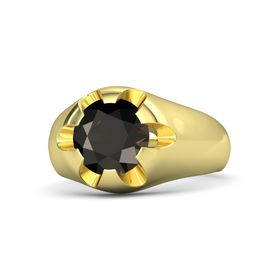 Men's Round Smoky Quartz 18K Yellow Gold Ring