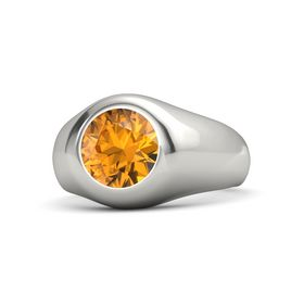 Men's Round Citrine 14K White Gold Ring