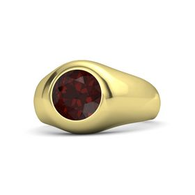 Men's Round Red Garnet 14K Yellow Gold Ring