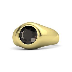 Men's Round Smoky Quartz 14K Yellow Gold Ring