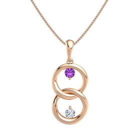 14K Rose Gold Necklace with Amethyst & Diamond