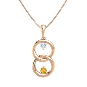 14K Rose Gold Necklace with Diamond & Citrine