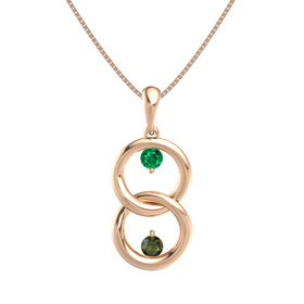 14K Rose Gold Necklace with Emerald & Green Tourmaline