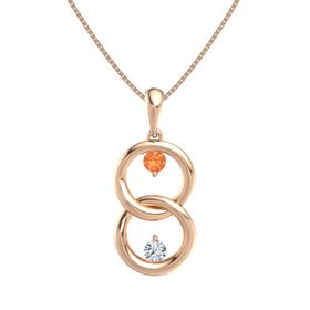 14K Rose Gold Necklace with Fire Opal & Diamond