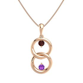 14K Rose Gold Necklace with Red Garnet & Amethyst