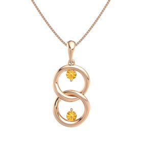 14K Rose Gold Necklace with Citrine