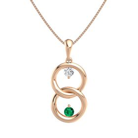 14K Rose Gold Pendant with White Sapphire and Emerald