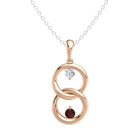 14K Rose Gold Pendant with White Sapphire and Red Garnet