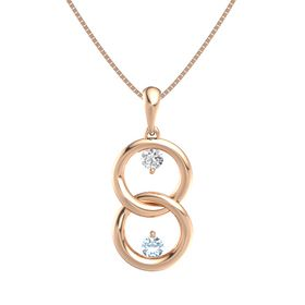 14K Rose Gold Necklace with White Sapphire & Aquamarine