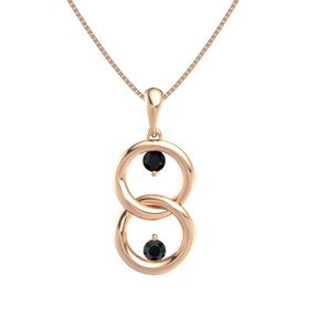 14K Rose Gold Pendant with Black Onyx and Black Diamond