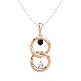 14K Rose Gold Pendant with Black Onyx and Diamond