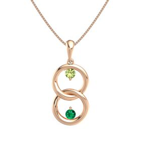 14K Rose Gold Necklace with Peridot & Emerald