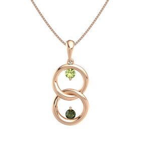 14K Rose Gold Pendant with Peridot and Green Tourmaline