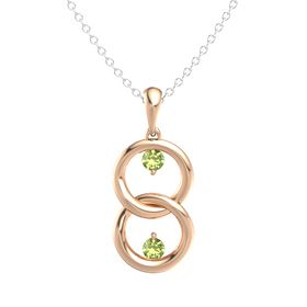 14K Rose Gold Pendant with Peridot
