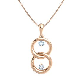 14K Rose Gold Necklace with Aquamarine & Diamond