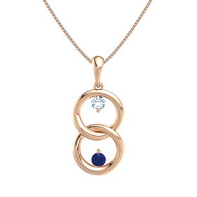 14K Rose Gold Necklace with Aquamarine & Sapphire