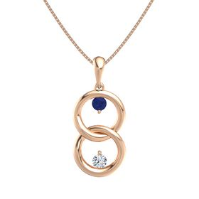 14K Rose Gold Necklace with Sapphire & Diamond