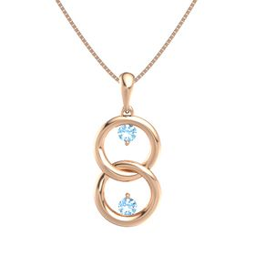 14K Rose Gold Pendant with Blue Topaz