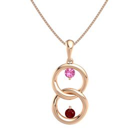14K Rose Gold Necklace with Pink Tourmaline & Ruby