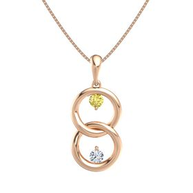 14K Rose Gold Pendant with Yellow Sapphire and Diamond