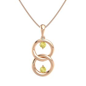 14K Rose Gold Necklace with Yellow Sapphire