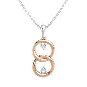 14K Rose Gold Pendant with Diamond and Aquamarine