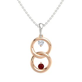 14K Rose Gold Pendant with Diamond and Ruby