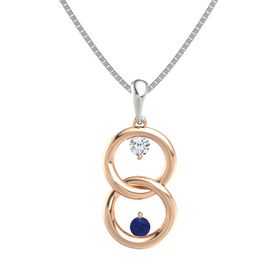 14K Rose Gold Necklace with Diamond & Sapphire