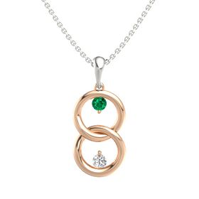 14K Rose Gold Pendant with Emerald and White Sapphire