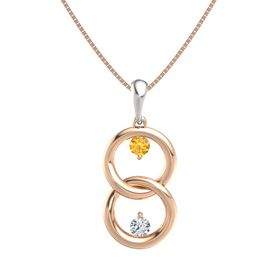 14K Rose Gold Pendant with Citrine and Diamond