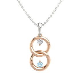 14K Rose Gold Pendant with White Sapphire and Blue Topaz