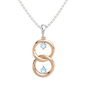 14K Rose Gold Pendant with Aquamarine and Blue Topaz