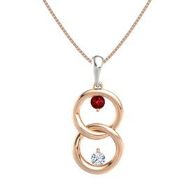 14K Rose Gold Necklace with Ruby & Diamond