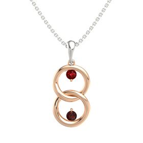 14K Rose Gold Pendant with Ruby and Red Garnet