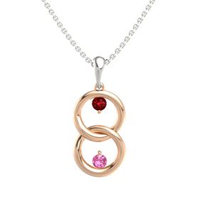 14K Rose Gold Pendant with Ruby and Pink Tourmaline
