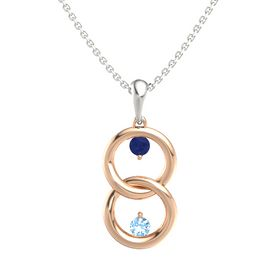 14K Rose Gold Pendant with Blue Sapphire and Blue Topaz