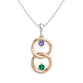14K Rose Gold Pendant with Iolite and Emerald