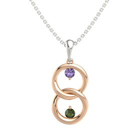 14K Rose Gold Pendant with Iolite and Green Tourmaline
