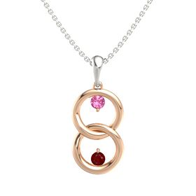 14K Rose Gold Pendant with Pink Tourmaline and Ruby