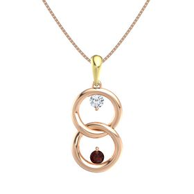 14K Rose Gold Necklace with Diamond & Red Garnet