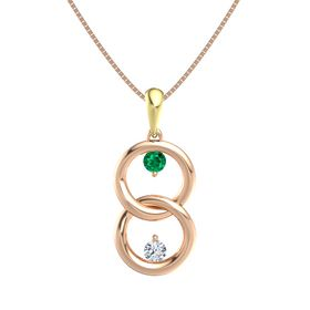 14K Rose Gold Necklace with Emerald & Diamond