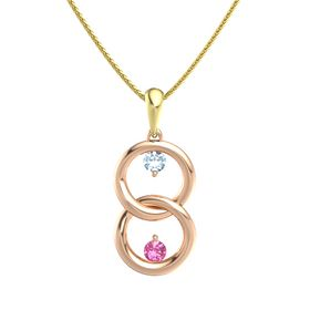 14K Rose Gold Pendant with Aquamarine and Pink Tourmaline